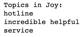 topics in sentiment joy